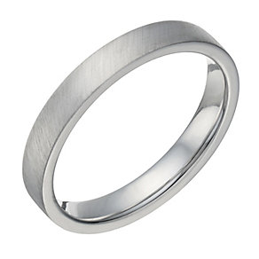 Sterling Silver Flat Court & Matt 3mm Ring - Product number 1688979