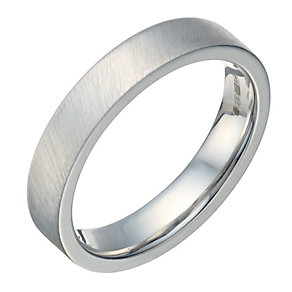Sterling Silver Flat Court & Matt 4mm Ring - Product number 1689231
