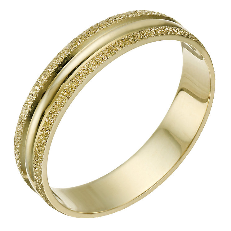 9ct Gold Frosted & Polished 4mm Ring - Product number 1690337