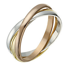 9ct Gold 2mm 3 Colour Russian Wedding Ring - Product number 1690612