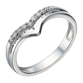 9ct White Gold 10 Point Diamond Wishbone Shaped Ring - Product number 1690779