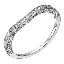 9ct White Gold Diamond Shaped Milgrain Ring - Product number 1690906