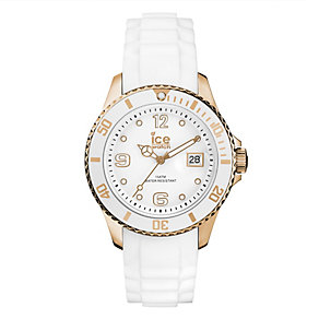 Ice-Watch Ladies' Rose Gold White Silicone Strap Watch - Product number 1691309