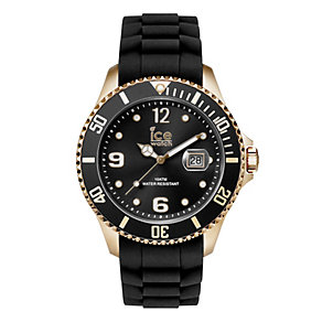 Ice-Watch Men's Rose Gold Black Silicone Strap Watch - Product number 1691449
