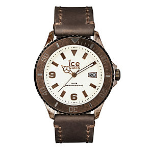 Ice-Watch Men's Cream Dial Brown Leather Strap Watch - Product number 1691457