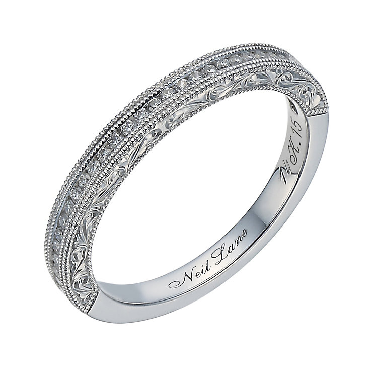 Neil Lane 14ct white gold 0.15ct diamond milgrain band - Product number 1691619