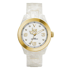 Ice-Watch Ladies' Gold-Plated White Pearlised Bracelet Watch - Product number 1692089