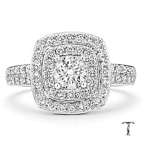 Tolkowsky 18ct white gold 1.00ct I-I1 diamond halo ring - Product number 1693743