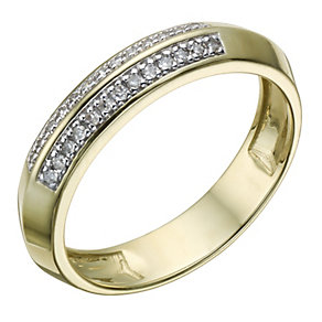 9ct Gold 10 Point Diamond Two Row Shaped Ring - Product number 1694006