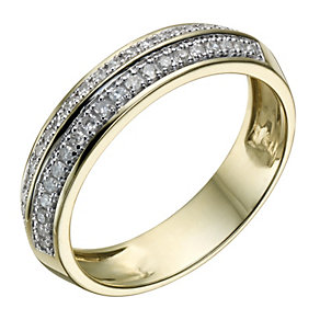 9ct Gold 20 Point Diamond Two Row Shaped Ring - Product number 1694146