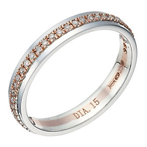 9ct White Gold & Rose Gold 15 Point Diamond Ring - Product number 1695142