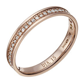 9ct Rose Gold 15 Point Diamond Ring - Product number 1695274