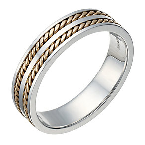 9ct White & Rose Gold Men's Two Row Rope Detail 5mm Ring - Product number 1695711