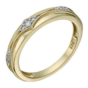 18ct Gold Diamond Milgrain Detail Ring - Product number 1695894