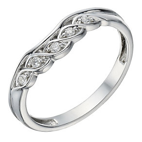 9ct White Gold Diamond  Twisted & Shaped Ring - Product number 1696033