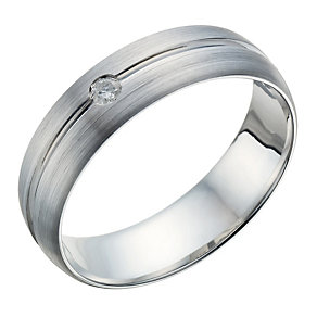 9ct White Gold Men's Matt & Polished Diamond Set Groove Ring - Product number 1698974