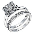 9ct White Gold 3/4 Carat Diamond Square Bridal Ring Set - Product number 1699709
