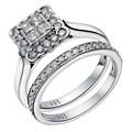 9ct White Gold 3/4 Carat Diamond Square Bridal Ring Set - Product number 1699709