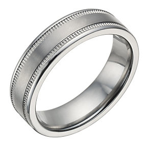 Titanium Men's Milgrain Detail 6mm Ring - Product number 1700286