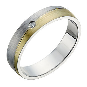 Sterling Silver & 9ct Gold Men's Diamond Set Groove Ring - Product number 1700588