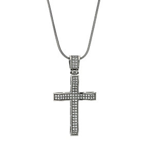 Stainless Steel Cubic Zirconia Cross Pendant - Product number 1702572