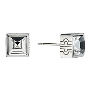 Stainless Steel Crystal Set Cube Stud Earrings - Product number 1702734