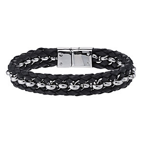 Stainless Steel & Plaited Black Leather Bracelet - Product number 1702742