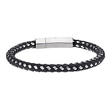 Stainless Steel & Plaited Black Rubber Bracelet - Product number 1702769