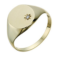 9ct Gold Diamond Set Signet Ring - Product number 1702807