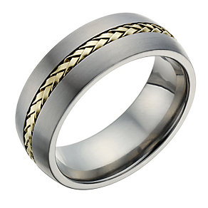 Titanium & Gold Tone Detail Ring - Product number 1702939