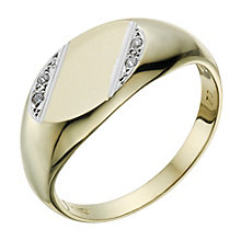 9ct Gold Diamond Set Signet Ring - Product number 1703072