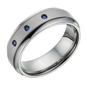 Titanium 3 Stone Sapphire Set Ring - Product number 1703218