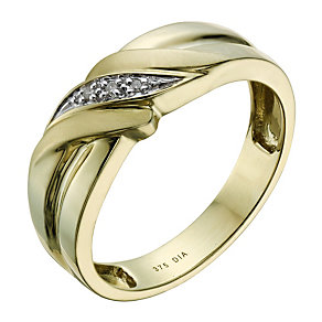 9ct Gold Diamond Set Signet Ring - Product number 1703331