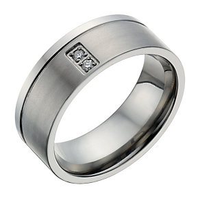 Titanium 2 Stone Diamond Set Ring - Product number 1703463