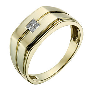 9ct Gold 10 Point Diamond Signet Ring - Product number 1703609