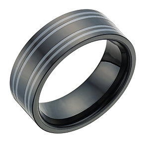 Ceramic Black & Grey Striped Ring - Product number 1704001