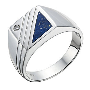 Sterling Silver Diamond & Lapis Signet Ring - Product number 1704664