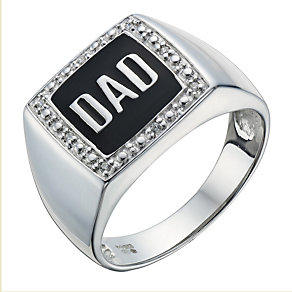 Sterling Silver Cubic Zirconia 'Dad' Signet Ring - Product number 1705490