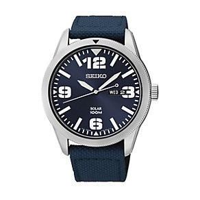 Seiko Solar men's blue dial blue canvas strap watch - Product number 1709399