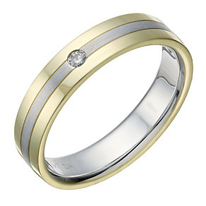 9ct Gold & White Gold Men's Matt & Polished Diamond Set Ring - Product number 1709615