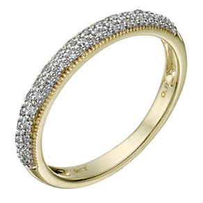 9ct Gold 11 Point Diamond Pave Set Milgrain Detail Ring - Product number 1709771