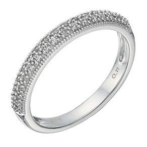 9ct White Gold 11 Point Diamond Pave Set Milgrain Ring - Product number 1709917