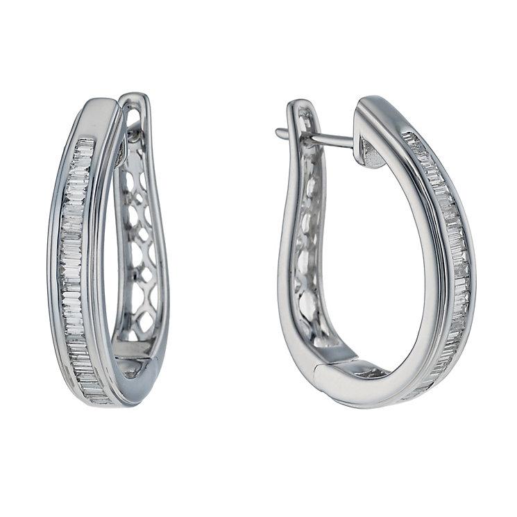 9ct white gold 0.50ct baguette cut diamond hoop earrings - Product number 1711342