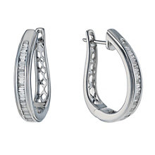 9ct white gold 0.50ct baguette cut diamond hoop earrings - Product number 1711342