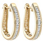9ct gold 1/3 carat baguette cut diamond hoop earrings - Product number 1711350