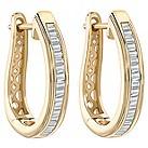 9ct gold 0.33ct baguette cut diamond hoop earrings - Product number 1711350
