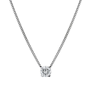 9ct white gold fixed 30 point diamond solitaire pendant - Product number 1711377