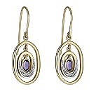 9ct gold & white gold amethyst & diamond drop earrings - Product number 1711393