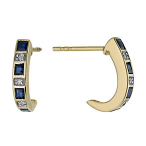 9ct gold sapphire & diamond half hoop earrings - Product number 1711407