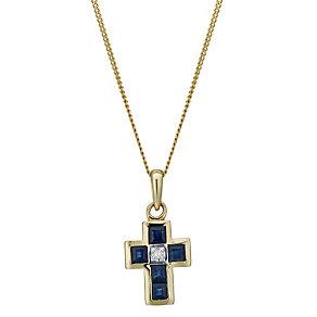 9ct gold sapphire & diamond cross pendant - Product number 1711423